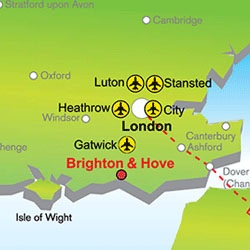 Map of UK Airports and distence from Brighton